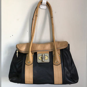 B. Makowsky Black Tan Leather Shoulder Bag